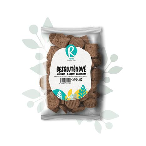 Bezglutenové sušienky kakaové s kokosom